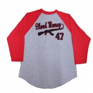 Blood Money AK-47 Baseball T-Shirt Red Grey