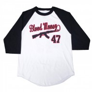 Blood Money AK-47 Baseball T-Shirt Black White