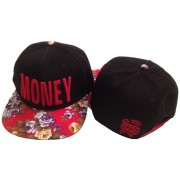 Black and Red Floral Money Hat