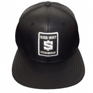 Limited Faux Leather Blood Money Logo Hat Black