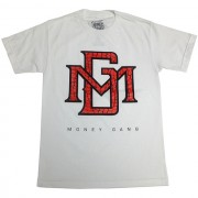 MG Logo Red and Black Crocodile Gel Print T-Shirt White
