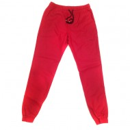 Red Faux Leather Jogger Pants