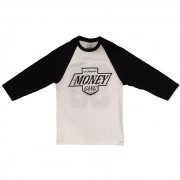 King Money Baseball T-Shirt White / Black Sleeves